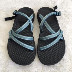Chaco Womens Blue Slip On Sandals Size 8